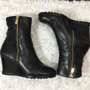 Michael Kors Black Leather Moto Wedge Bootie
